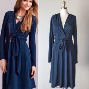 Cabi Chelsea Teal Blue V-Neck Wrap Sweater Dress M